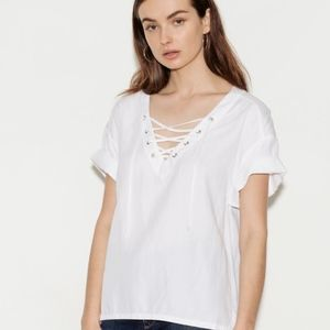 AG Linen White Deep V Lace Up (SIZE S)